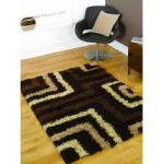 Brown Maze Shaggy Area Rug Petersberg 60X230