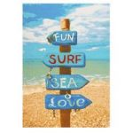 Multi Coloured Beach Sign Childrens Rug 100X160