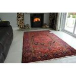 Red Blue Persian Hamadan Wool Rug