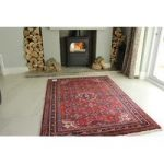 Red & Blue Hossainabad Persian Wool Rug
