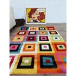 Multi Coloured Square Contemporary London Rug 160×230