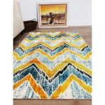 Blue & Yellow Chevron Modern London Rug 80×150
