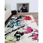 White, Red, Pink & Teal Modern Art London Rug 80×150