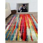 Red & Teal Multi Modern London Rug 80×150
