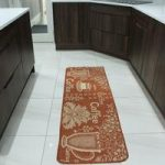 Burnt Orange and Off White Modern Coffee Non Slip Kitchen Mat – Panama