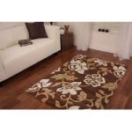 Modern Brown Flower Design Hisar Rug 80x150cm