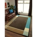 Florence Contemporary Teal Blue and Brown Border Rug 385 60 cm x 110