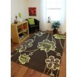 Florence Lime Green and Chocolate Brown Floral Motif Modern Rug 813 60