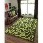 Florence Modern Lime Green and Brown Damask Floral Design Area Rug 879