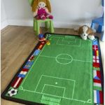 Kids Green Football Field Bedroom Mat