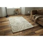 Venus Soft High Quality Carved Floral Pattern Beige Wool Rug – 90cm x