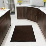 Brown Cotton Machine Washable Absorbent Kitchen Rubber Mats
