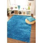 Modern Plain Teal Blue Ribbons Shaggy Rug – 190cm x 280cm