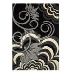 High End Contemporary Black Rugs & Grey Flower Rug 1705 – Montego