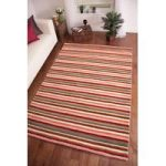 """Eden Modern Thick Red Stripes""""Indian Wool Rug 160cm x 230cm (5ft 3 x"""