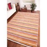 "Eden Modern Thick Multi Stripes""Indian Wool Rug 120cm x 170cm (3ft 11"