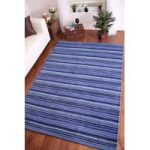 "Eden Modern Thick Blue Stripes""Indian Wool Rug 120cm x 170cm (3ft 11"