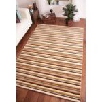 "Eden Modern Thick Beige Stripes""Indian Wool Rug 120cm x 170cm (3ft 11"