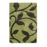 Avoca Shaggy Lime Green & Brown High Density Vine Pattern Rug 7647