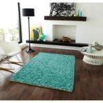 Luxury Heavyweight Thick Rich Teal Shaggy Wool Rug – Bobbles 120cm x