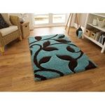 Avoca Soft Thick Teal & Brown Hand Carved Floral Pattern Rugs 120cm x