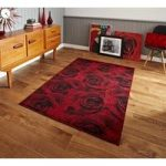 Unique Stylish Colourfast 3D Printed Red Rose Rug – Tolka 120cm x
