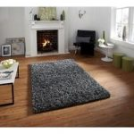 Luxurious Anti Shed Silver Wool Shag Rug – Athens 90cm x 150cm (3′ x
