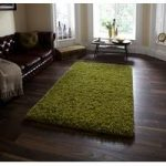 Luxury Soft Touch Green Shaggy Wool Rug – Athens 90cm x 150cm (3′ x