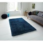 Luxury High Gloss Heavyweight Teal Blue Shaggy Rug – Seattle 110cm x