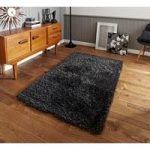 Chunky High Density Grey Anti Shed Shaggy Rug – Seattle 80cm x 140cm
