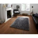 Thick Soft High Gloss Silver Shaggy Rug – Seattle 60cm x 115cm (2′ x