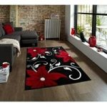 Felice Black Rugs & Red Contemporary Flower Motif Mat OC15 – 120cm x
