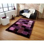 High Shine Soft Shaggy Purple Border Rugs Piccadilly 04 – 120cm x