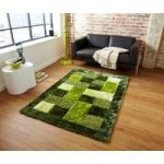 Luxurious Green Shaggy Squares Patterned Mats Piccadilly 04 – 120cm x