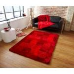 Extra Thick Bright Red Checked Shag Pile Rugs Piccadilly 04 – 150cm x