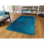 Luxury Vibrant High Sheen Blue Shaggy Rug – Geneva 90cm x 150cm (3′ x
