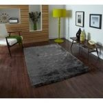 High Shine Anti Shed Grey Heavyweight Shaggy Rug – Savoy 60cm x 120cm