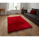 Rich Red High Quality Stain Resistant Shaggy Area Rug – Savoy 120cm x
