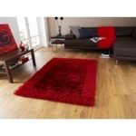 Ultra Soft Colour Fast Quality Red Shaggy Rug – Santa Clara 90cm x