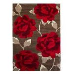 Elegant Soft Brown & Rich Red Floral Rug 793 – Phoenix 80cm x 150cm
