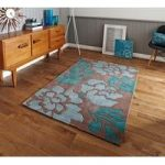 High Class Elegant Brown & Blue Soft Floral Motif Area Rug 33 –
