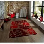 Soft Touch Hand Carved Brown & Rich Red Floral Lounge Rug 33 – Phoenix