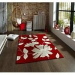 Stylish Stain Resistant Hand Tufted Red Floral Rug 2085 – Phoenix 65cm