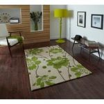 Modern Stain Resistant Green Floral Patterned Lounge Rug 1512 –