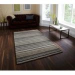 Super Soft Blue Green Striped Luxurious 100% Wool Rugs – Denver 120cm