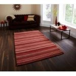 Contemporary Red & Beige Vibrant Thick Wool Area Rug – Denver 120cm x