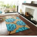 Modern Beige & Blue Soft Luxury Floral Print Wool Rug Sorrento 30 –