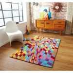 Funky Multi Coloured Geometric Patterned Wool Rug Prism – 120cm x