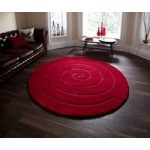Sumptuous Dense Dark Red 100% Wool Circular Rug – Lena 180cm(5ft'11 )