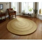 Luxury Opulent Wool Hand Carved Gold Round Rug – Lena 140cm (4ft' 8 )